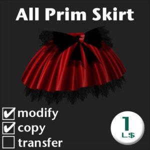 SecondLife Goods Item : All Prim skirt (red)